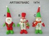 """14""""H Santa Snowman Elf Sitter-3asst-décoration de Noël"""