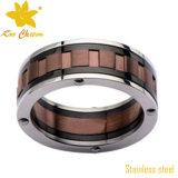 Чернота Str-011 с обручальными кольцами нержавеющей стали золота для женщин