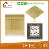 3 interruptor eléctrico cristalino del botón cuadrado de la cuadrilla 2way