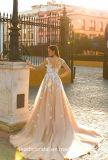 Vestido Wd077 de Champagne Tullewedding do vestido nupcial da sereia do laço