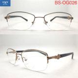 La moitié des lunettes de trame verres optiques Lunettes optiques avec le ressort de la charnière du châssis pour les femmes