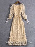 Modo elegante delle donne di disegno fuori vestito da sera lungo floreale di seta chiffon della spalla dal maxi