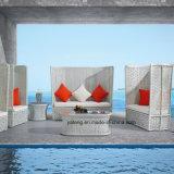 花によって編まれた最上質の新しいデザインホテルの家具のソファーの一定の屋外の庭のソファーはセットした(YT571)