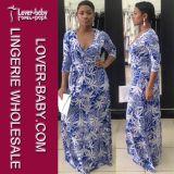 Gedrucktes Kleid-beiläufiges Frauen-Kleid (L51285)