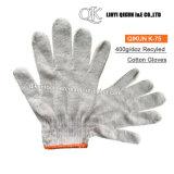 K-75 400g/Dozのペアは安全働きによってリサイクルされた綿の手袋を編んだ