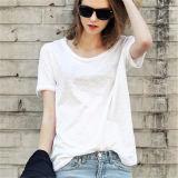 Planície da moda 100% algodão de manga curta das mulheres brancas T Shirt pode imprimir