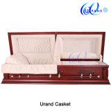 Cercueil funèbre intérieur et cercueil en bois solide de velours en gros de la Chine de peuplier
