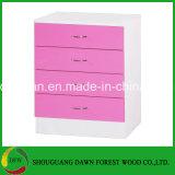 Rosafarbener hoher Glanz u. Weiß 3 Tür-Garderoben-Brust-Kopfende des Stück-Schlafzimmer-Set-2