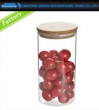 De luchtdichte Rechte Kruik van het Glas van de Opslag van het Suikergoed met de Verbinding van het Metaal