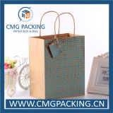 Twist Handle (CMG-MAY-014)를 가진 녹색 Hot Foil Printing Kraft Paper Bag