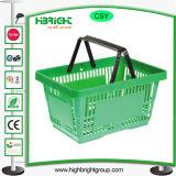 Alavanca única cesta de compras de plástico com logotipo impresso