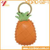 Trousseau de clés en cuir fait sur commande d'ananas de PVC pour les cadeaux (YB-LY-06)