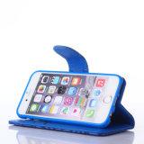 iPhone 8을%s 최신 돋을새김된 파란 PU 가죽 이동 전화 상자
