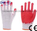Le latex rouge a enduit des gants de travail de sûreté de travail industriel de construction