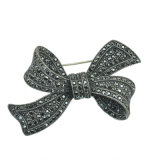 Zinc Alloy Rhinestone Antique Silver Bow Brooch Jewelry