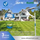 50W 3 ans de lampe solaire de garantie dans le réverbère
