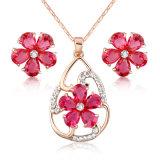 Jogo africano da jóia da mulher extravagante de cristal quente da flor do Zircon do rubi da venda