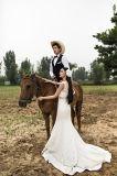 Платье венчания Китая шеи Mermaid v шнурка (TJBLCT008)