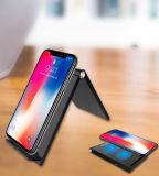 Plegado de Qi Wireless Cargador de teléfono móvil para el iPhone 8/Plus/X, soporte de cargador inalámbrico para teléfonos inteligentes