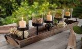 Les chandeliers métalliques décoratifs de Noël avec base de bois