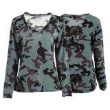 Populaires de la vente de coton de femmes de camouflage militaire complète T-shirts