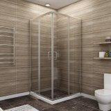 Sally 6mm en aluminium chromé de lumière à double ouverture porte de douche coulissante avec vitre de sécurité trempé