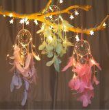 Popular indiano artesanais Dream Catcher Feather com luz LED decoração doméstica
