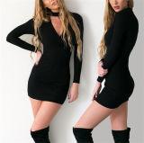 2016 die spätesten Damen Sleeved lang V-Stutzen Bodycon Kleider (80025)