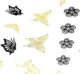 стикер ногтя стикеров искусствоа ногтя воды цветка бабочки черноты золота 3D