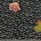Wide Howlow-Out Floral White e Black Eyelash vestuário Lace tecido