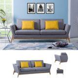 Mobiliario de casa moderna de tela de lino de color gris sofá de tres asientos (HC107).