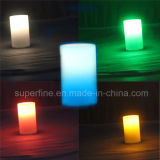 Cute Pillar Multicolor Holiday Outdoor Wedding Decorativa Luminária sem fogo LED vela pode drenar água