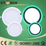 O diodo emissor de luz ultra fino de Ctorch White+Green 6W+3W on-off Cor-Muda a luz de painel