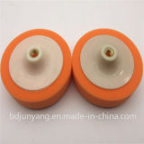 Roda amarela da esponja da roda dos bens que lustra o disco abrasivo com plástico