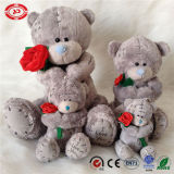 Het Grijs van het dekbed draagt de Baby van Flarden draagt het Zachte Stuk speelgoed Teddy van de Slaap