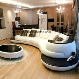新しいデザイン居間の金属の足の革ソファー(UL-NSC178)