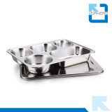 plaque de plateau de nourriture de plaque de repas scolaire d'acier inoxydable de la qualité 304 de 28.2*22cm