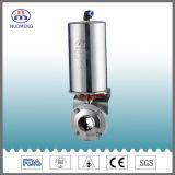 Válvula de mariposa neumática del acero inoxidable para el proceso de la farmacia, del alimento y de la bebida