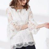 Дамы моды круглой горловины полой кружева бликов втулку шифон блуза