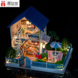 Large Cute Wooden Toy DIY Miniature Doll House com móveis