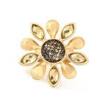 Ringen van de Bloem van de Diamant van de Ring Platedr van de manier de Gouden voor de Juwelen van de Bloem van de Overeenkomst van het Huwelijk van Vrouwen