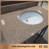 De veelkleurige Kunstmatige Bovenkanten van de Ijdelheid van de Badkamers van het Kwarts met Ovale Ceramische Gootstenen