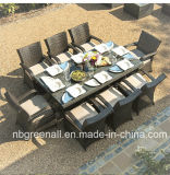 4 [ستر] [رووند تبل] [رتّن] كرسي تثبيت طاولة يتعشّى أثاث لازم محدّد خارجيّ