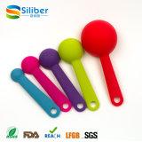 Colher de medição colorida de colher de medição de silicone em silicone