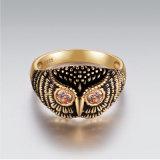 Venta caliente Owl Anillo de Plata en el chapado de oro