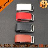 Memoria Flash de cuero colorida del USB del metal del regalo creativo (YT-5116-01)