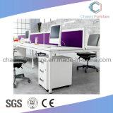 Sitio de trabajo moderno del escritorio del ordenador del vector de la cruz de los muebles de oficinas