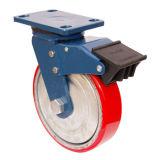 Schwenker PU auf Roheisen-Fußrolle mit Doppelbremse