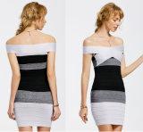 Трикотажные off плечо контрастные Bodycon платья