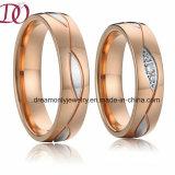 Bicolor золото Rose и белая серебряная полоса венчания кольца нержавеющей стали